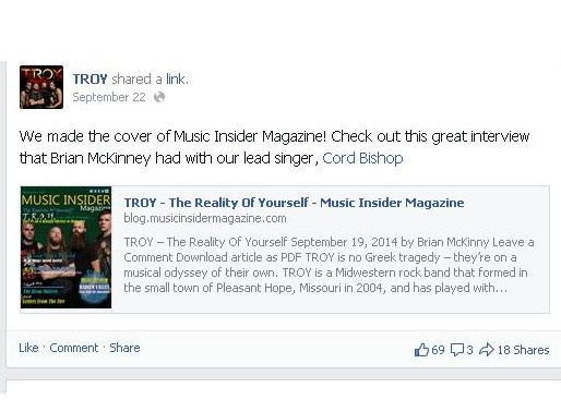 TROY Facebook Announcement of Feature in Music Insider Magazine and interview by Brian McKinny.