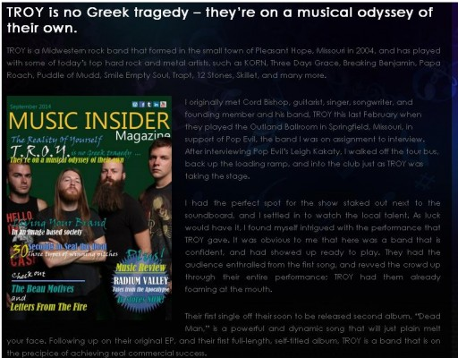 Picture of Music Insider Magazine and Interview by Brian McKinny with Rock Artist TROY
