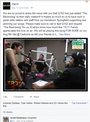 "TROY in the studio at Springfield's rock station Q102.1 celebrating their newest single ""The Reckoning"" hitting daily rotation."