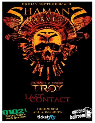 TROY and Shamans Harvest Sell Out Outland Ballroom September 4, 2015 hosted by Springfield's rock station Q1021