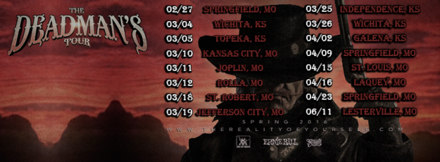 TROY Spring 2016 Deadman's tour stopping at Springfield, mo, wichita, ks, topeka, ks, joplin, mo, rolla, mo, st robert, mo, jefferson city, mo, independence, ks, galena, ks, st louis, mo, laquey, mo and lesterville, mo.