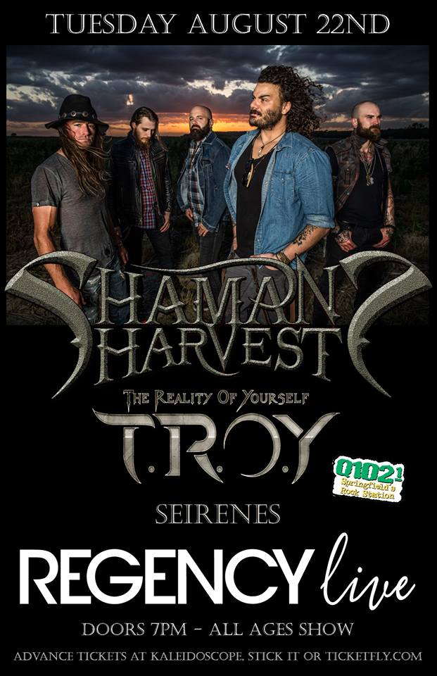 Shaman's Harvest & TROY at the Regency. Springfield, MO August 22nd, 2017.